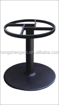 HS A003B Wrought Iron Table Base With Cast Iron Round Frame Top Base For  Round