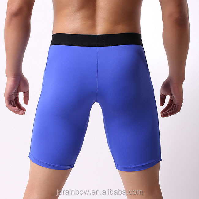 Wholesale 5 color extended high waist breathable ice silk fabric men's boxer briefs