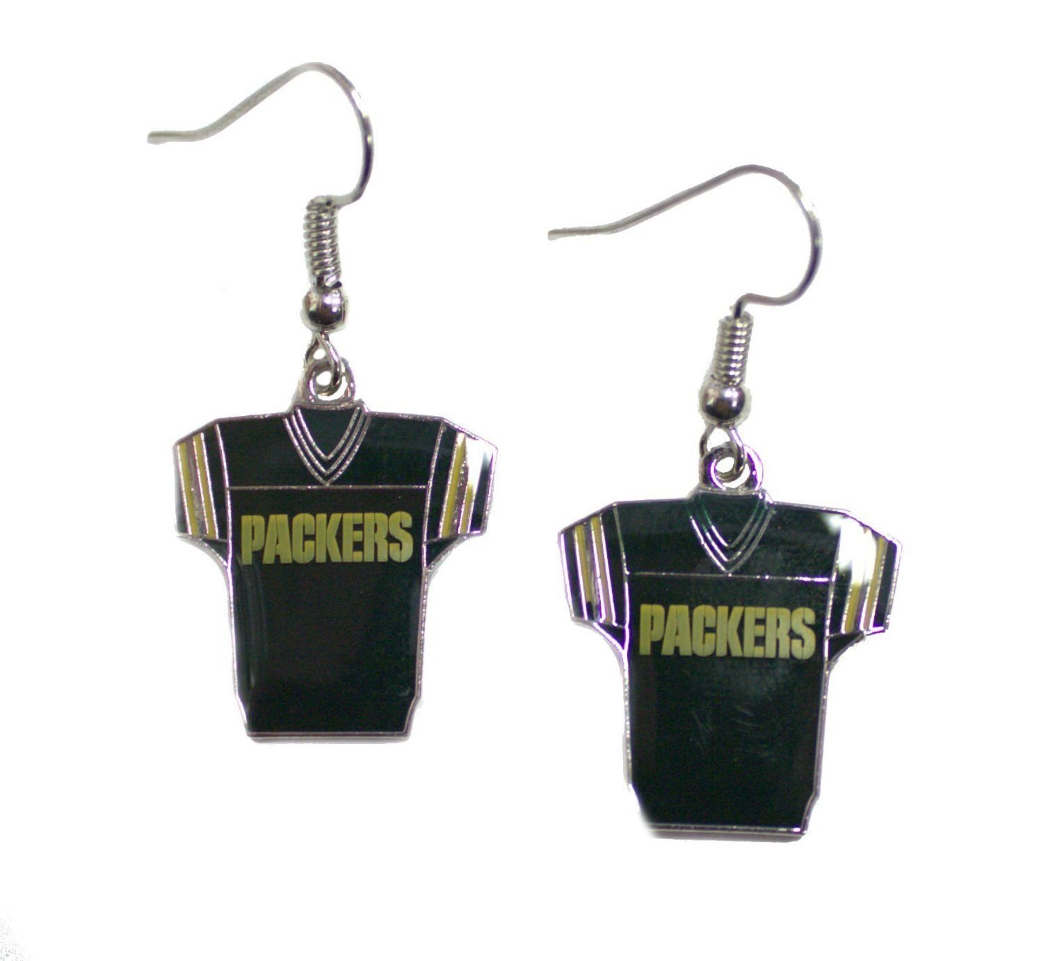 NFL Licensed Green Bay Packers Team Jersey Style Dangle Earrings