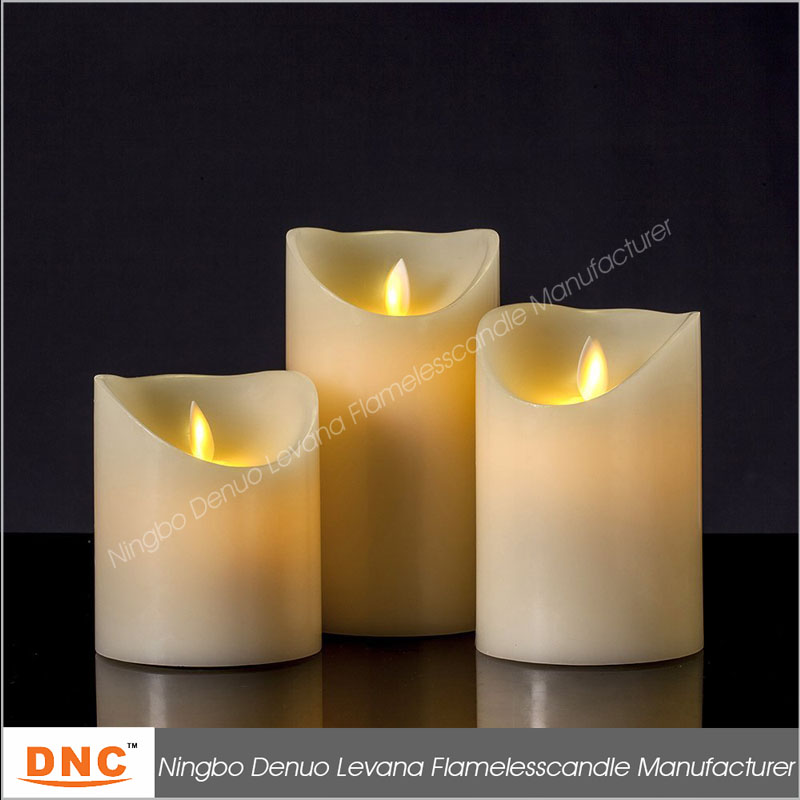 3x3 wax flameless flicker pillar with remote candle