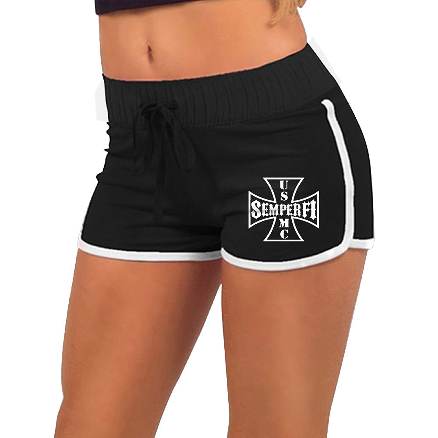 KENYYIOP USMC Women Yoga Shorts,Workout Shorts,Summer Pants,Running Shorts,Drawstring Waist Running Shorts
