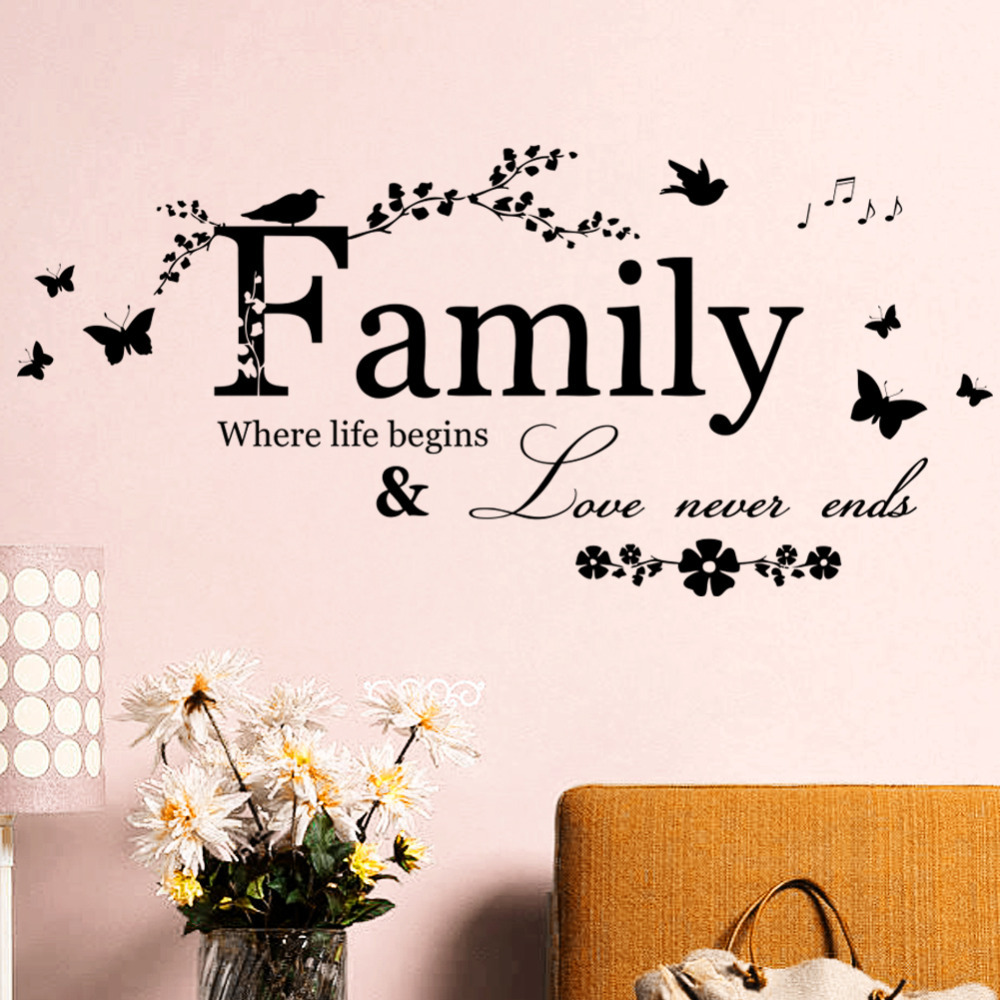 Family Love Never Ends Quote Vinyl Wall Decal Wall