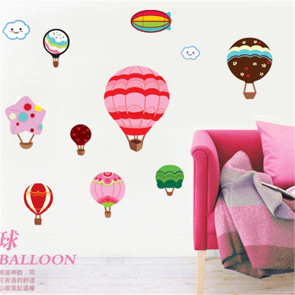 Kaymi Removable Wall Stickers Environmental Children's room decor nursery wall stickers cartoon hot air balloon Wallpaper DM57-0074
