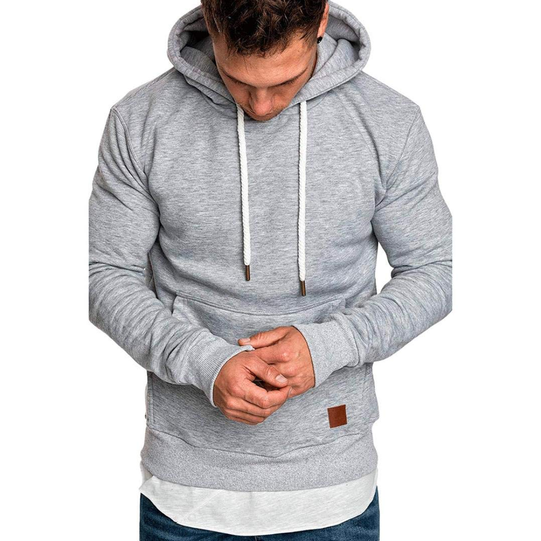 Wofupowga Mens Loose Pullover Long Sleeve Hoodie Top Sweatshirts