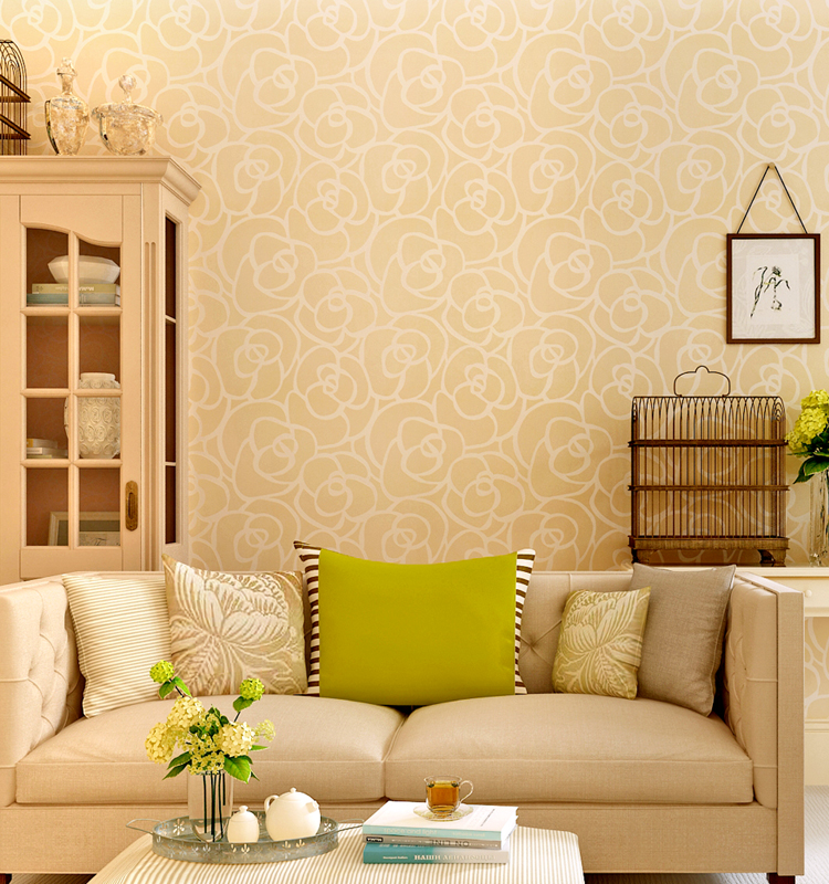 Mould-proof Light Yellow Decorative Wallpaper For Classic Rose - Buy ...