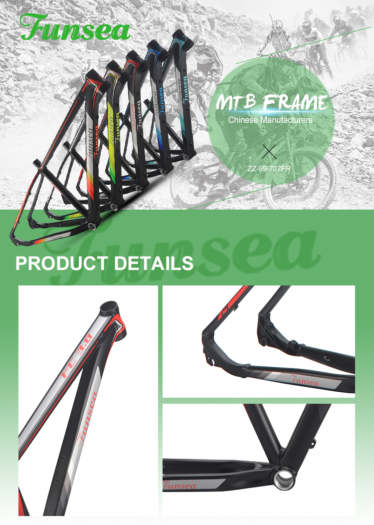 Funsea Original processing pipe materials painting/Decal finish alloy 6061# downhill mountain bike mtb frame bicycle frame