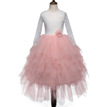 Long full elegent children dress designs baby girl party dress children frocks designs lace patterns wedding dress