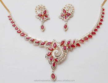 aa436308034b9 Ruby diamond gold necklace set, View Exclusive marquise cut ruby necklace,  Valentine Jewellery Product Details from VALENTINE JEWELLERY (INDIA) ...