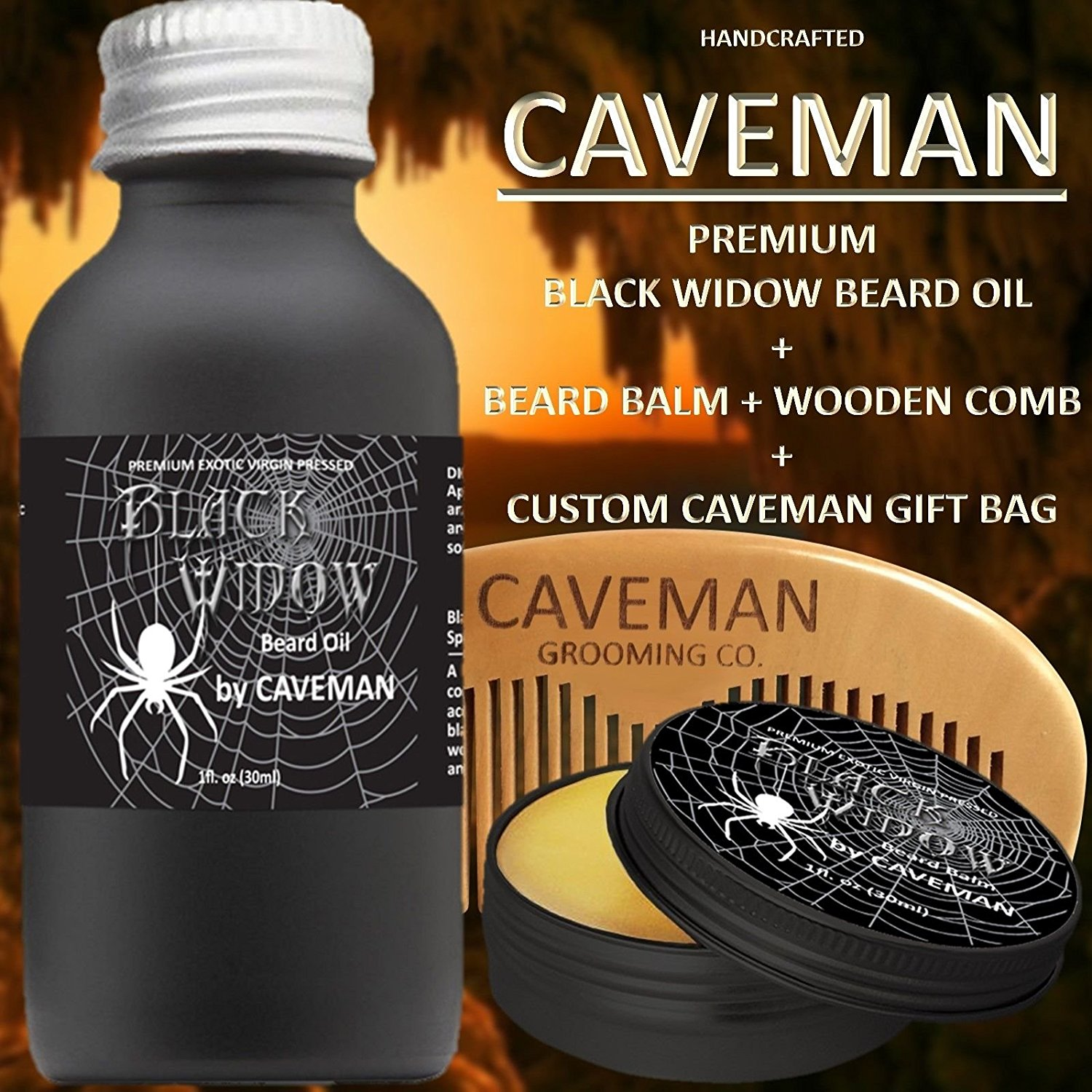 Hand Crafted Cedarwood Beard Oil Conditioner 2 Oz By Caveman® Beard Care Shave Aftershave & Pre-shave Shaving & Hair Removal