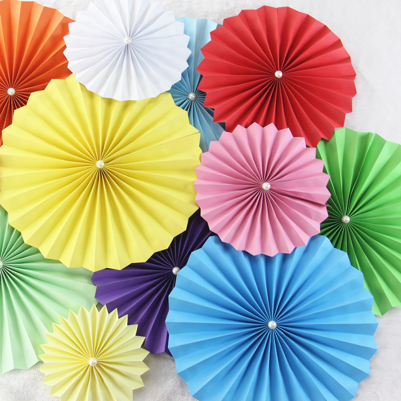 Circular Folded Paper Fan flower Party Supplies Wedding Background Decoration window dressing DIY Origami