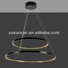 black two-ring LED chandelier french design