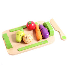 Kids Kitchen Pretend Play Wooden Cutting Vegetables Fruit Food Toys