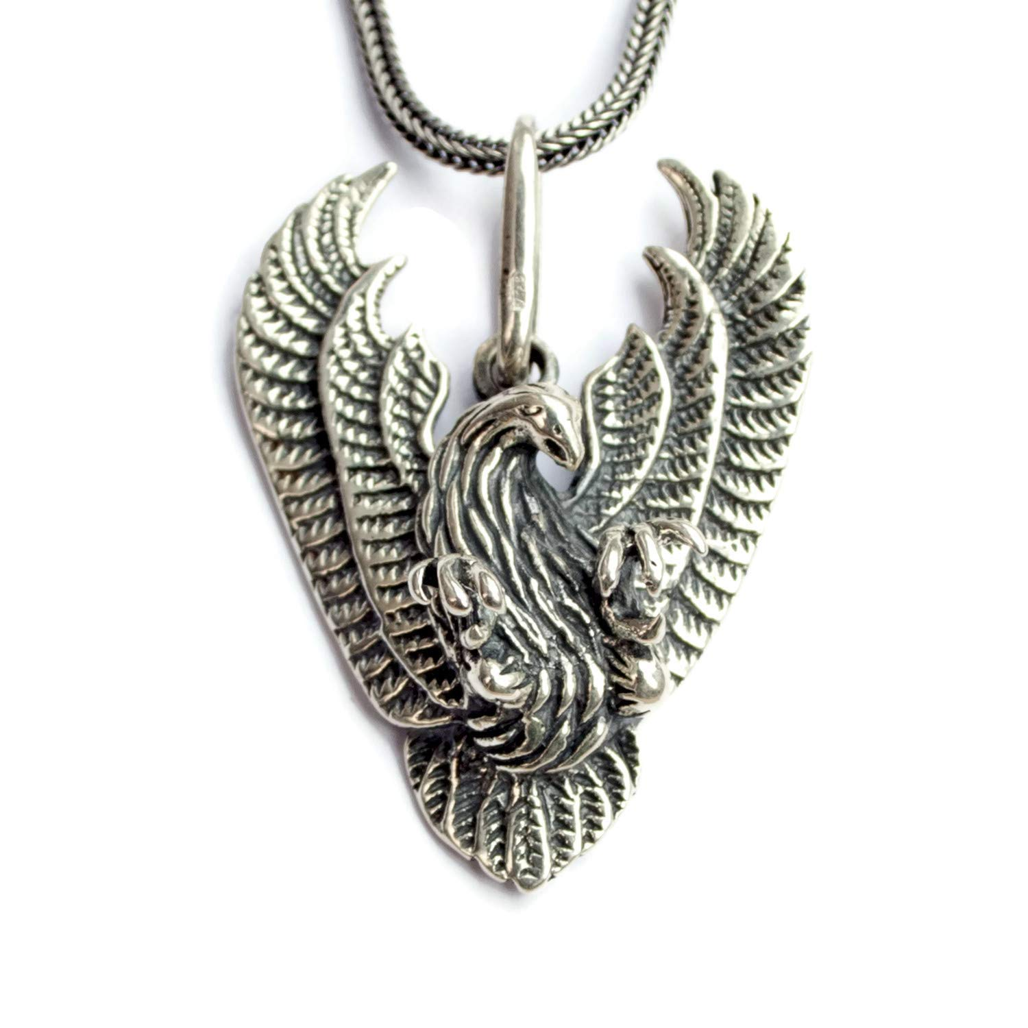 d31340cb1 925 Sterling Silver Flying Eagle Biker Necklace for Men Bold Eagles Pendant  Freedom Hawk Handmade Jewelry