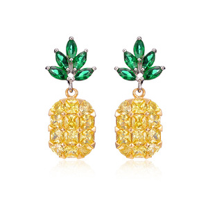 2018 Fashion Jewelry Double Color Crystal Fruit CZ Earrings Antiallergic Cubic Zirconia Pineapple Drop Earrings
