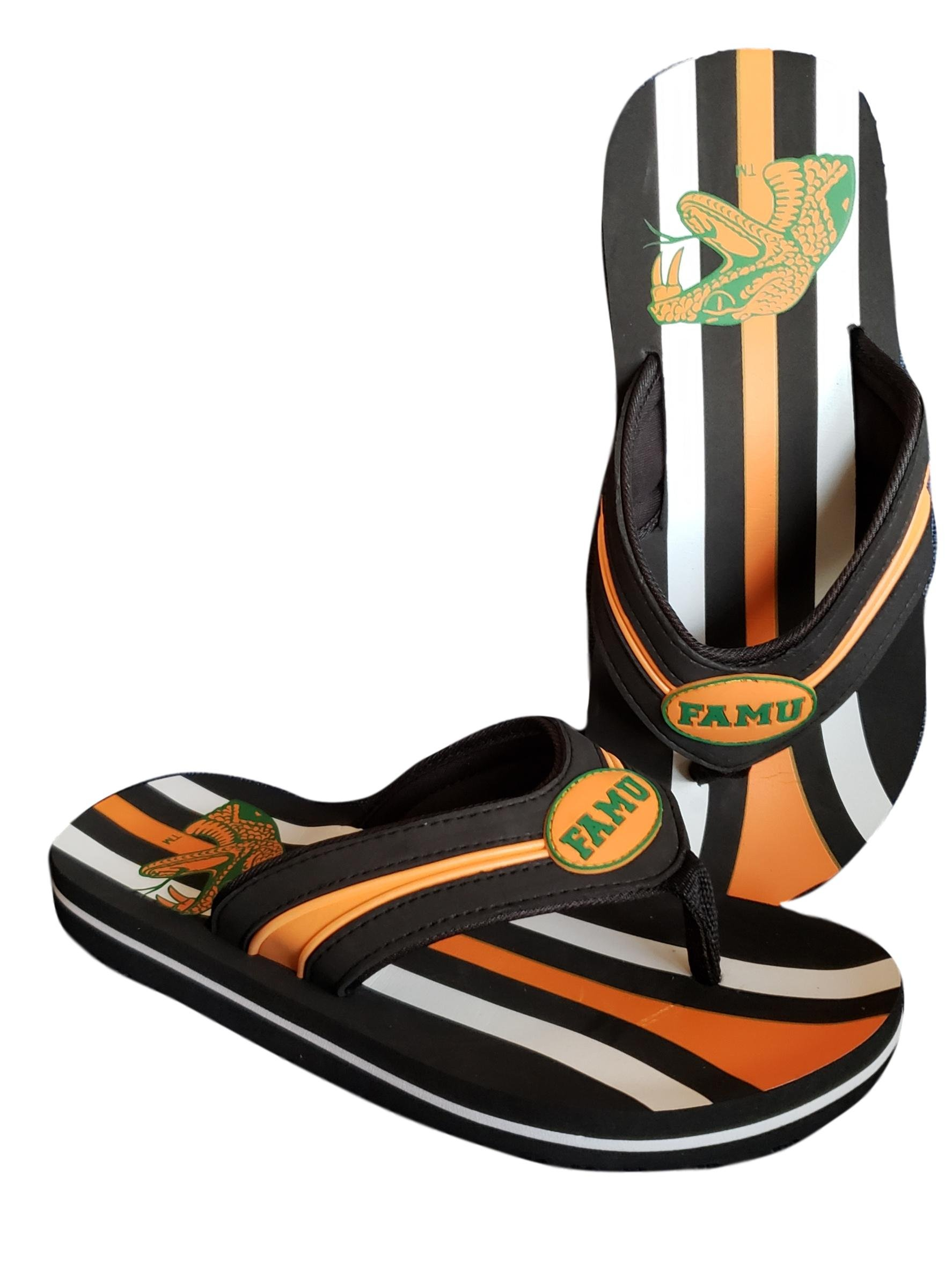 Mens Campus Footnotes Mega Striped Thong Sandal Slides