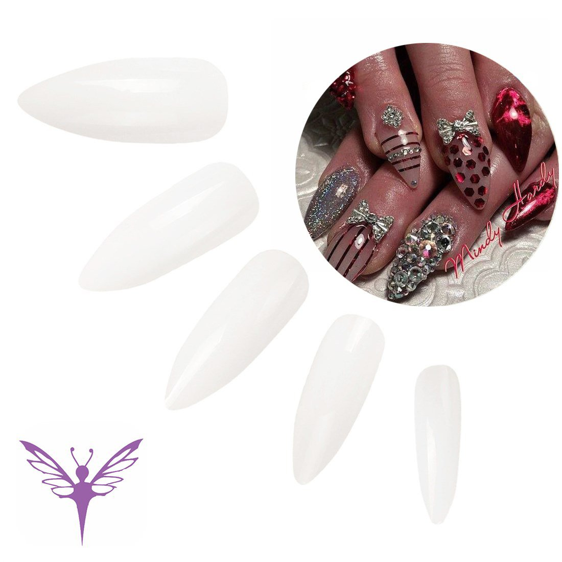 f83b187bcdc Get Quotations · Ejiubas Natural Long Stiletto Nails Full Cover False Nails  Acrylic Nail Designs - Pack of 500