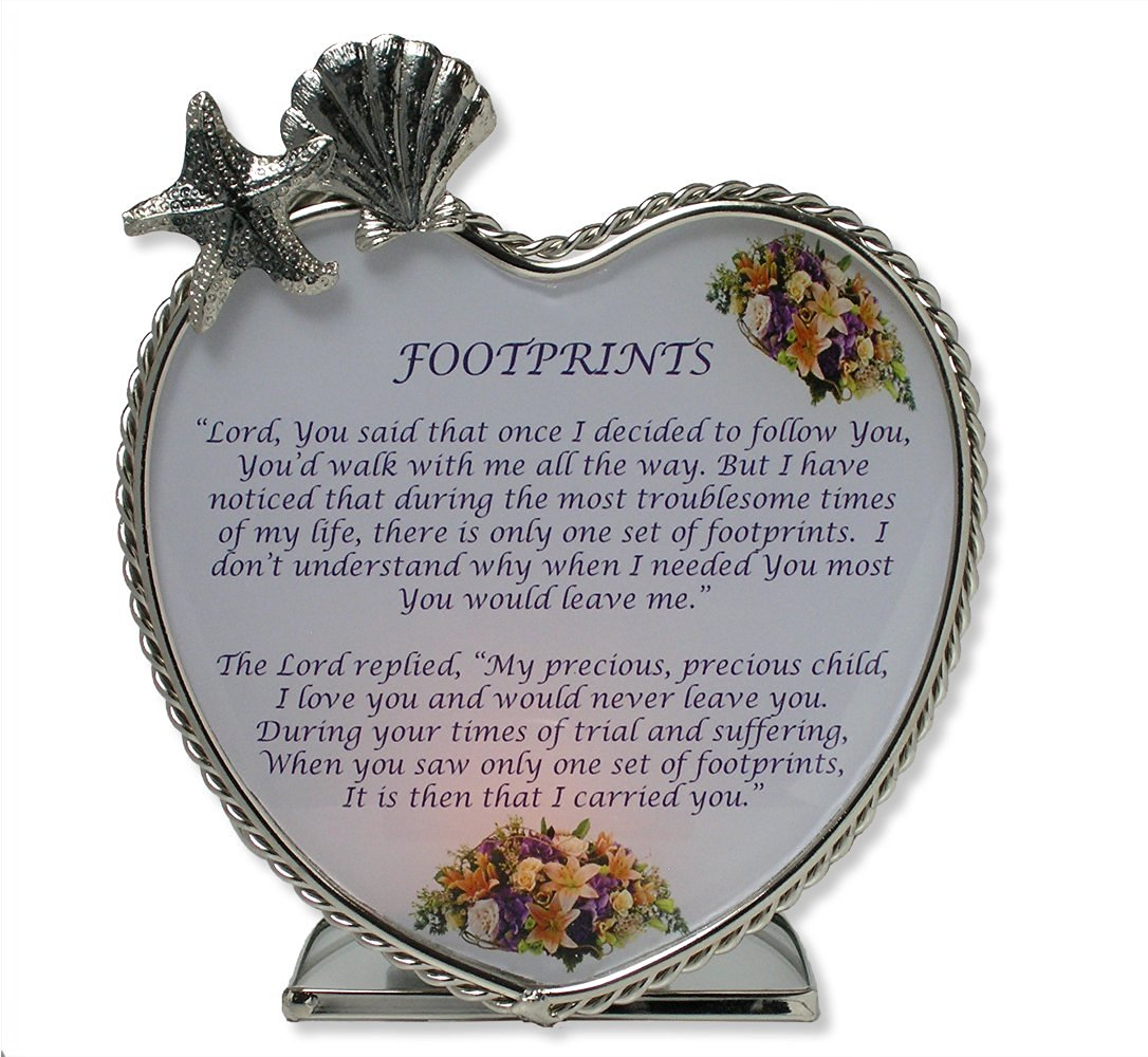 BANBERRY DESIGNS Footprints in the Sand Candle Holder - Glass Heart Tealight or Votive Holder with Inspirational Poem - Christian
