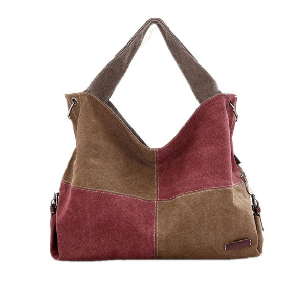 2015 korean fashion lady's canvas khaki handbag with assorted colors panelled high quality brand shoulder bag