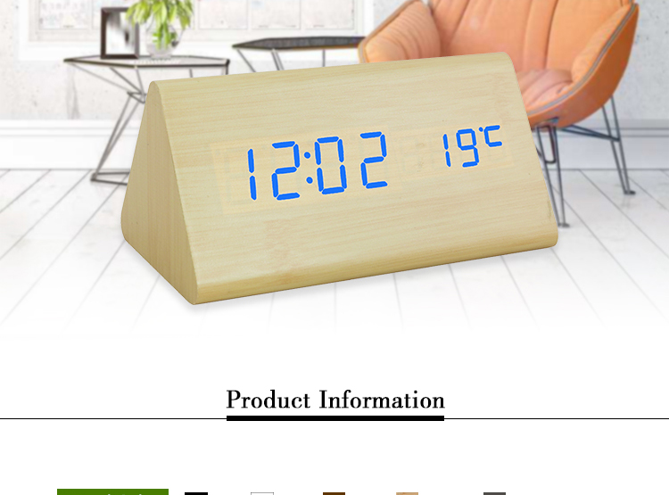 Home decoration triangle big display wooden LED alarm clock with temperature