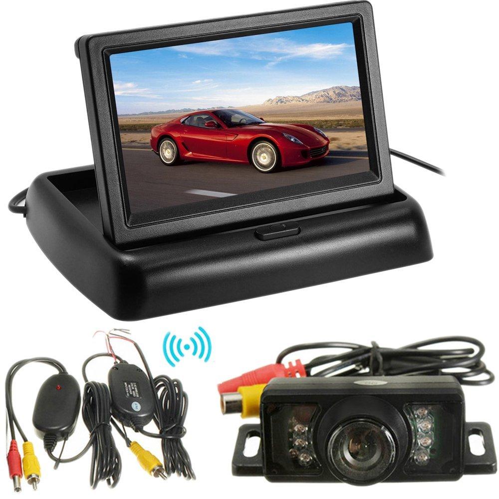 PolarLander Car Foldable LCD 4.3 Monitor Wireless IR Rearview Parking Reversing Camera Kit 120 Degree Angle Rear View Backup Camera