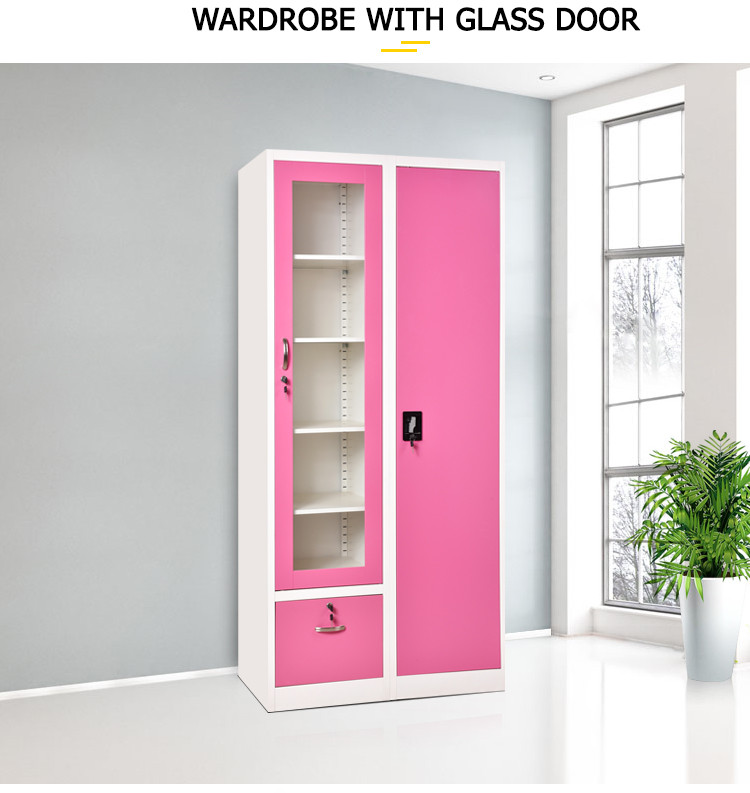 Factory direct sale latest India style bedroom metal storage wardrobe cabinets with drawer