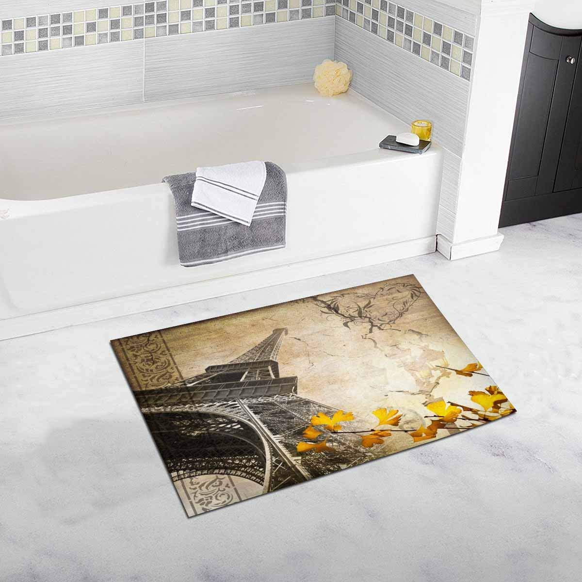 InterestPrint Romantic Vintage Paris Collage with the Eiffel Tower Luxury Microfiber Washable Bath Rug For Floor Bathroom Bedroom Living Room