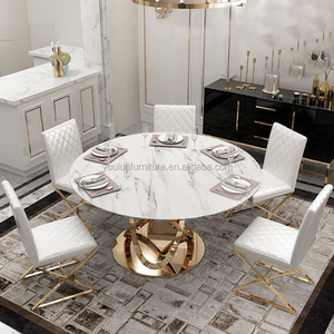 Stainless Steel Base Gold Plated Round Dining Marble Table, Top Marble Dining Table