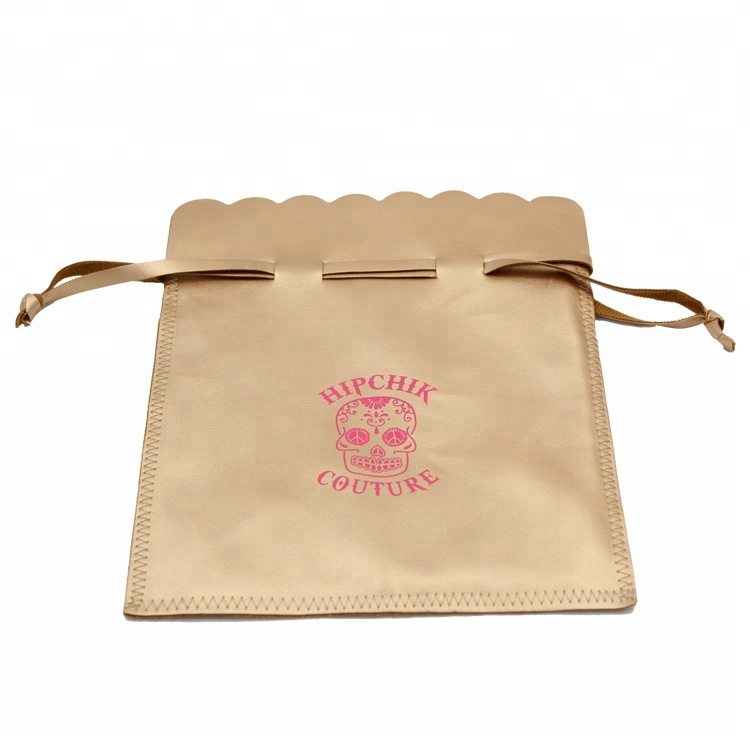 Custom printed larger golden handmade genuine PU Leather Drawstring Pouch