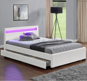 2018 New King Size LED Light Faux Leather Storage Beds With Drawer & 2018 New King Size Led Light Faux Leather Storage Beds With Drawer ...