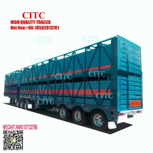 3 axles cattle trailer fencing type transport livestock trailers for sale