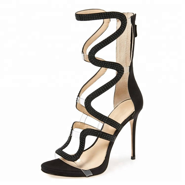 Women 2018 New Design Sexy Stiletto Shoes Cross Strappy Fashion Back Zipper High <strong>Heels</strong>