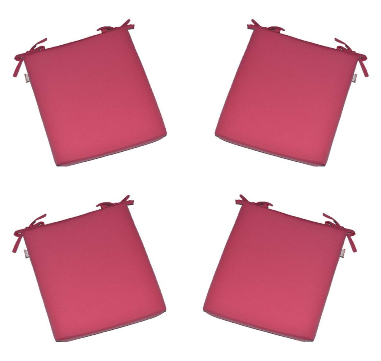 """Set of 4 - Universal 2"""" Thick Foam Seat Cushion with Ties for Dining / Patio Chair - Sunbrella Canvas Hot Pink - Choose Size (22"""" x 21"""")"""