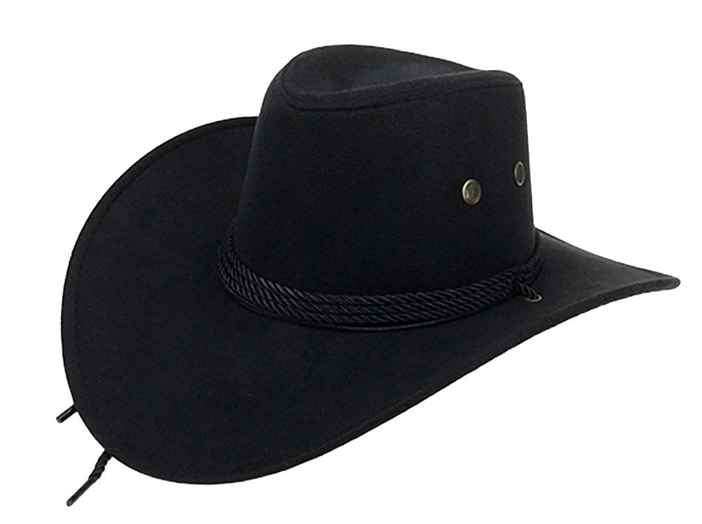 Get Quotations · UwantC Mens Faux Felt Western Cowboy Hat Fedora Outdoor  Wide Brim Hat with Strap e2e76aa44aa1