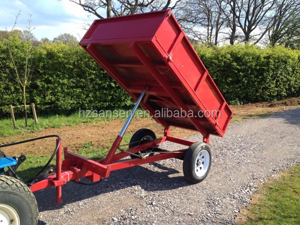 tractor tow behind off-road farm trailer rear dump trailer with hydraulic
