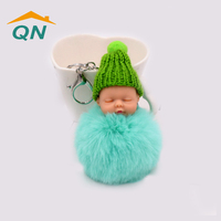 Wholesale Car Accessories Fur Ball Sleep Baby Doll Keychain for Bag
