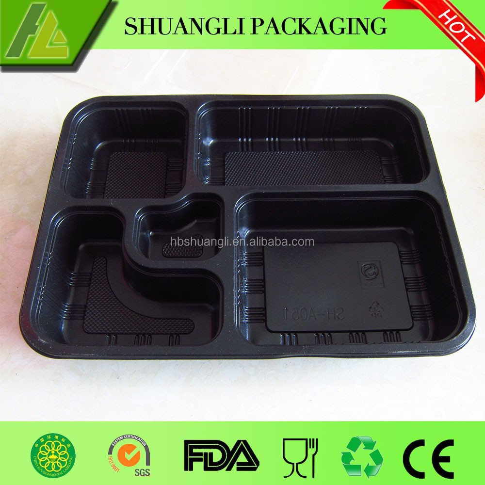 5 Compartments black color disposable plastic pp lunch tray