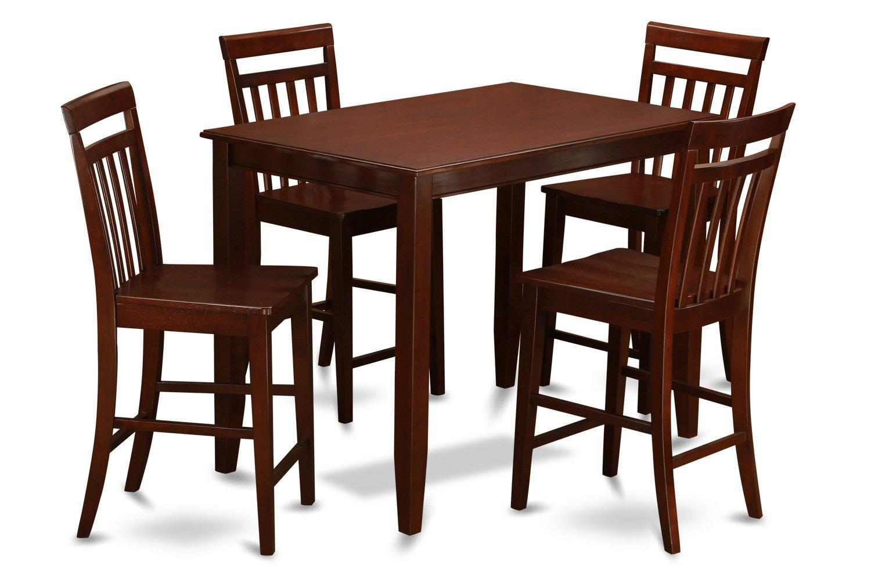 East West Furniture BUEW5-MAH-W 5-Piece Pub Table Set, Mahogany Finish