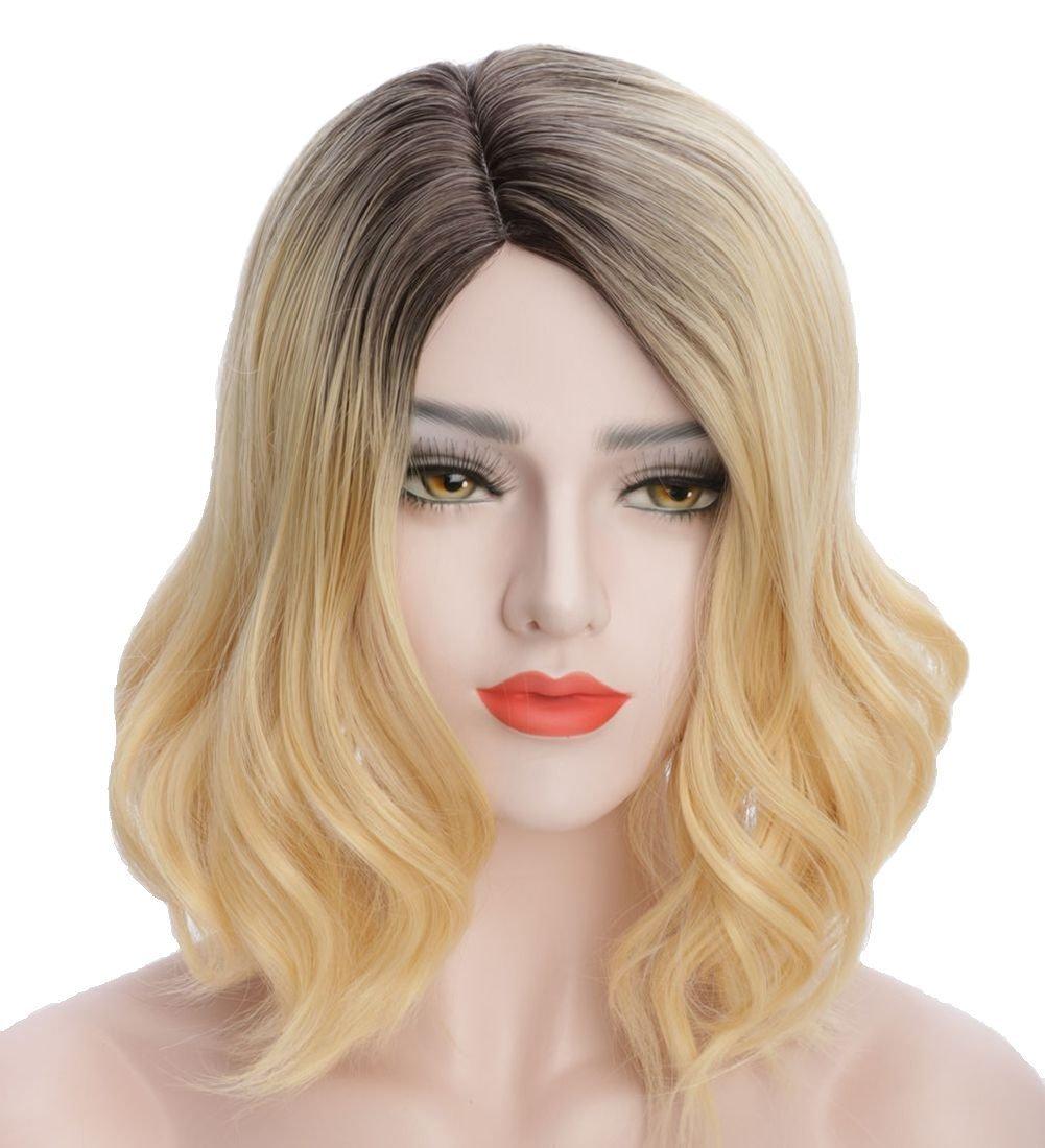 "Karlery Dark Roots Fashion Heat Resistant Synthetic Wavy HairFull Wig Bangs for Women Blonde Wig Dark Roots Wig (15"", Big Wavy)"