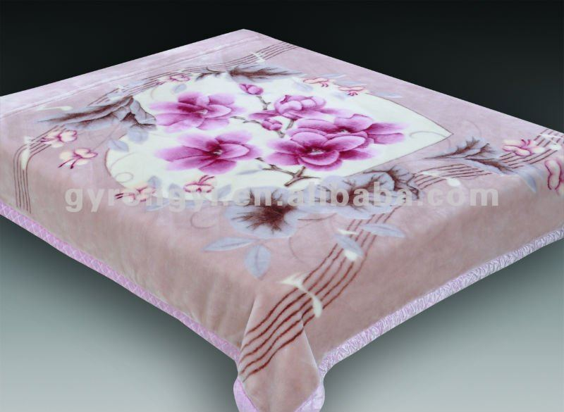 100% polyester raschel blanket in 2 ply with flower priting