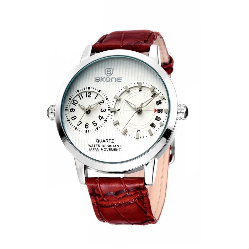 Hot Sale Silver Round Case Mens High Quality Leather Strap Description of Wrist Watch