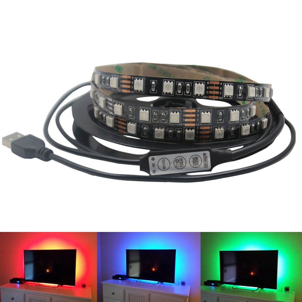 ZGX USB Powered Flat Screen TV LCD Blacklight,Computer LED Strip Light 3.28Ft/1M 5050RGB Multicolor Flexible Cuttable Indoor Home Decor Lighting with Mini Controller for Laptop (1M/3.28ft)