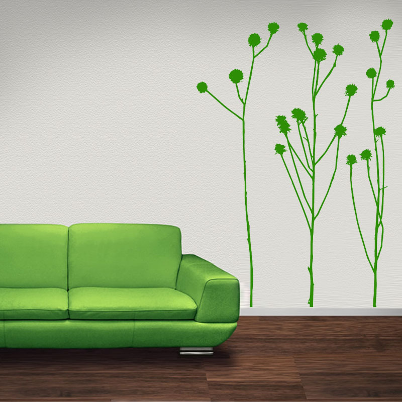 Nature Style Living Room DIY Removable Waterproof Pvc Long Light Green Grass Wall Stickers Home Decor