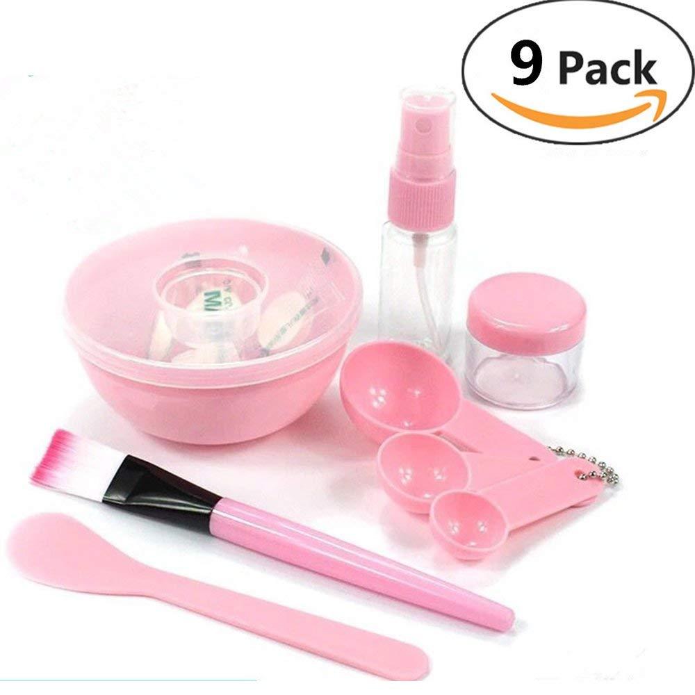 JCJTECH 9 in 1 Face Mask Mixing Bowl Set with Disposable mask paper for free,FaceMask Mixing Bowl Set Mask DIY Tool Kit Facial Skin Care Sets (Pink)