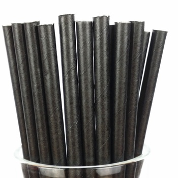 Free Samples FSC FDA Approved Plain Black Paper Straw China