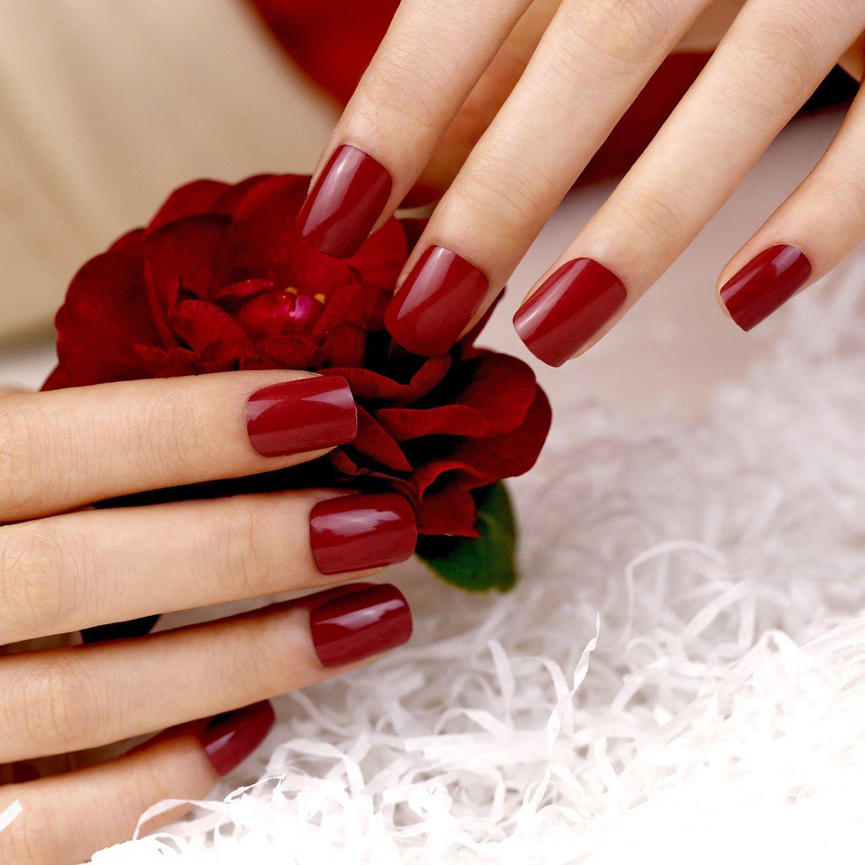 Buy ArtPlus 24pcs Burgundy False Nails French Manicure Full Cover ...