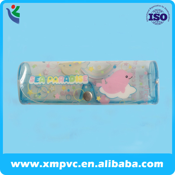 blue children button plastic pvc box eyeglasses case for optical shop