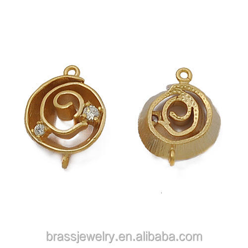 Cheap Wholesale or Custom Different Designs Small Zircon Paved Raw Brass Earring Jewelry Connector