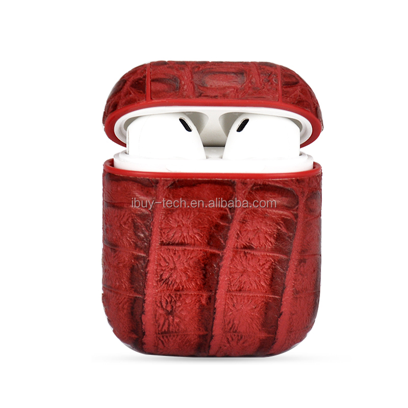Crocodile Pattern Protective Leather Cover Skin for Air Pods Charging Case with Ear Hook Grips