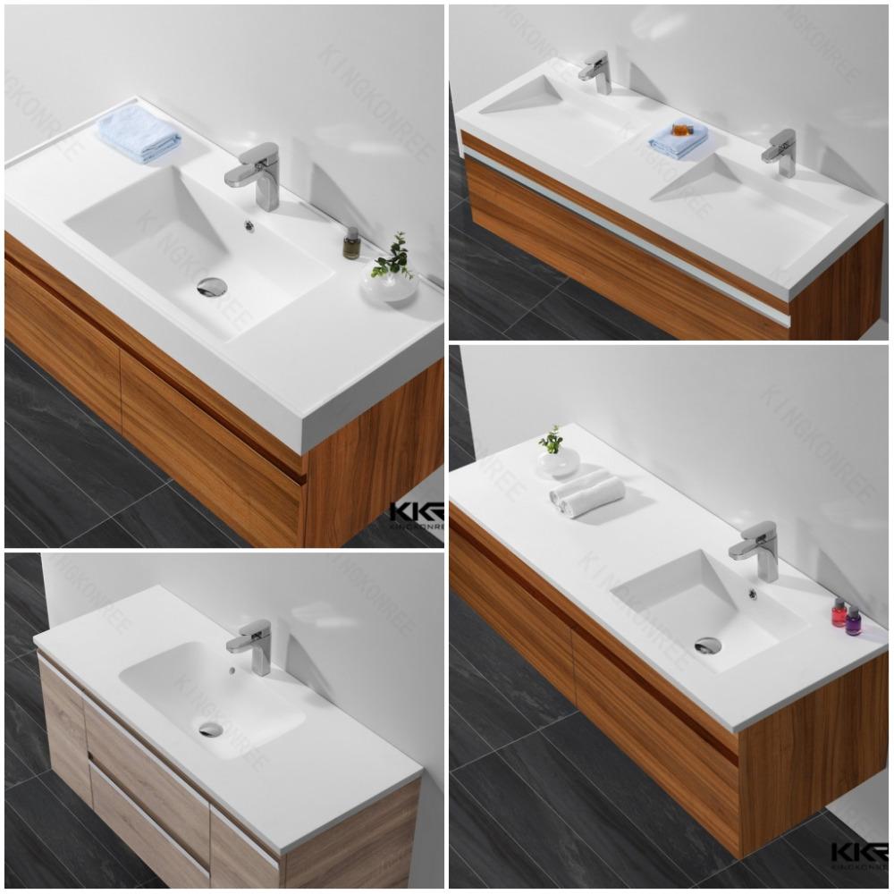 Kingkonree Small Size Integral Bathroom Vanity Sink/ Pink Bathroom Sink/  Western Bathroom Sinks