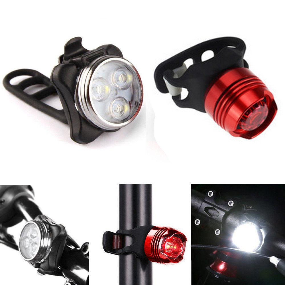 Bike accessories,Rechargeable LED Bike Light Bicycle Lamp Set Front Light Tail Light USB by Dressffe